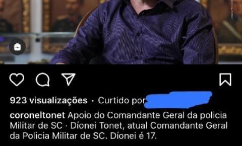 Comandante-Geral da PMSC grava propaganda política no interior do Quartel do Comando Geral da Corporação