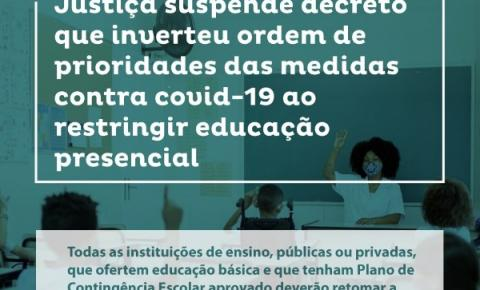 Justiça suspende decreto que restrigiu educação presencial