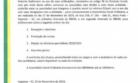 Edital de Convocação de Assembléia Geral Ordinária - Eleição da Associação Empresarial de Itapema e Porto Belo