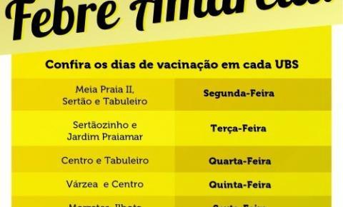 Vacinação contra Febre Amarela segue disponível nas UBS