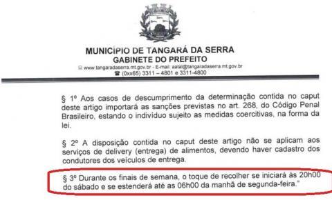 Decreto proíbe circulação injustificada de pessoas pelas ruas de Tangará entre sábado a noite e segunda de manhã
