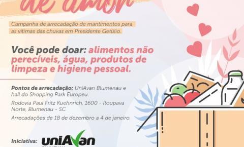 UniAvan Blumenau promove campanha para arrecadar mantimentos às vítimas de Presidente Getúlio